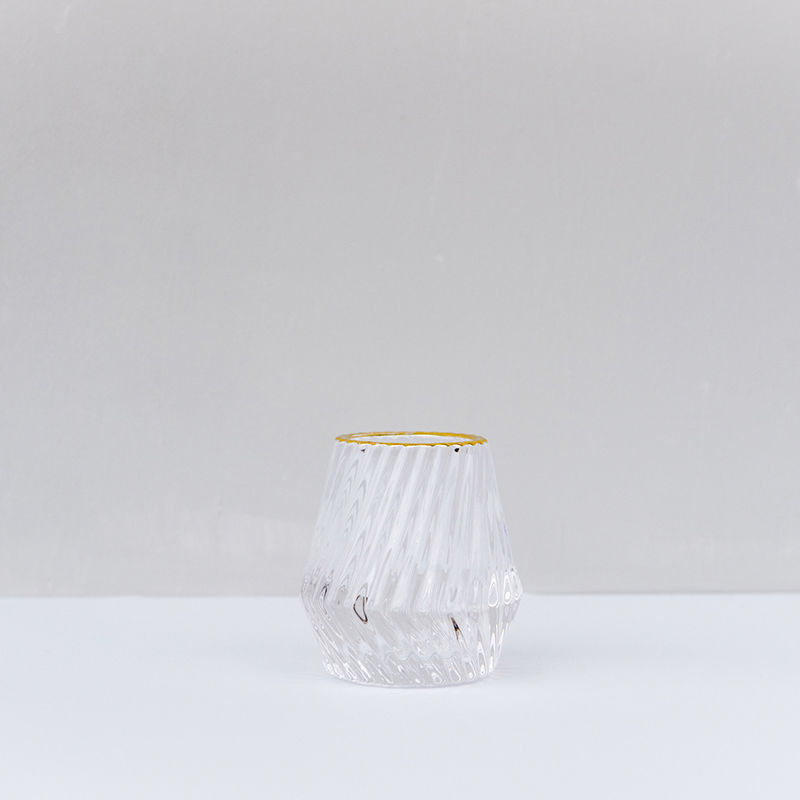 Gold Rim Glass Candle Holder